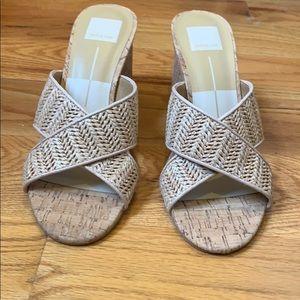 Dolce Vita nude cork/woven heeled sandals 8.5